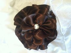 Brown Satin Hair Flower/Bow by OliviasPretties on Etsy, $6.00