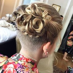 "65 Likes, 7 Comments - @bobbedhaircuts on Instagram: ""Credit to @paigestelzlhairstyling I just could not resit posting this updo... best undercut updo I…"""