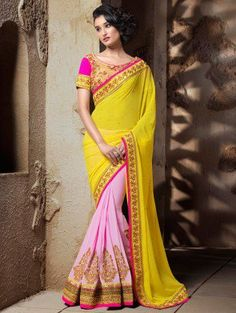 Yellow And Pink Georgette Saree With Resham Embroidery And Ganth Work