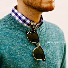 Love the sweater over button down look. http://www.fastsunglass.com/Ray-Ban-Clubmaster-4145-p/805289653660.htm