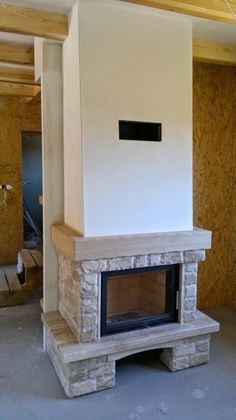 Indoor Gas Fireplace, Brick Fireplace, Fireplace Design, Greece House, Living Room Tv, Sweet Home, House Design, Interior Design, House Styles