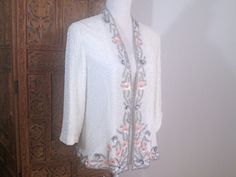Vintage 1970s 80s Asian Floral Pink Silver Beaded Sequin Silk Crepe White Lined Cardigan M