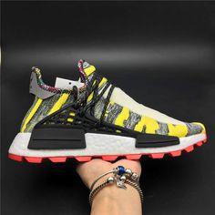99835b4f07f5 Pharrell Williams x adidas Originals Hu NMD Trail SOLARHU White Yellow Mens  Womens Shoes