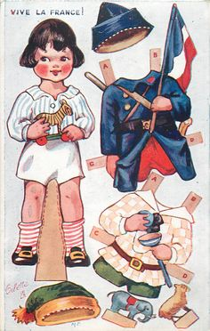 little Miss France postcard paper doll.