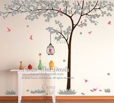 tree wall decal nursery room birdcage vinyl wall decals birds wall sticker wedding wall decal office- Huge tree Z155 Cuma via Etsy