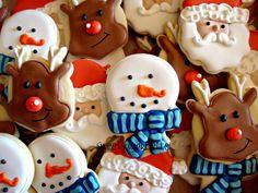 Reindeer, Snowman, & Santa Cookies