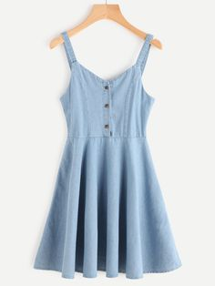 Shop V Neckline Single Breasted Front A Line Dress at ROMWE, discover more fashion styles online. Cute Casual Outfits, Casual Dresses, Fashion Dresses, Short Sleeve Dresses, Summer Dresses, Denim Dresses, Slip Dresses, Summer Maxi, Blue Dress Casual