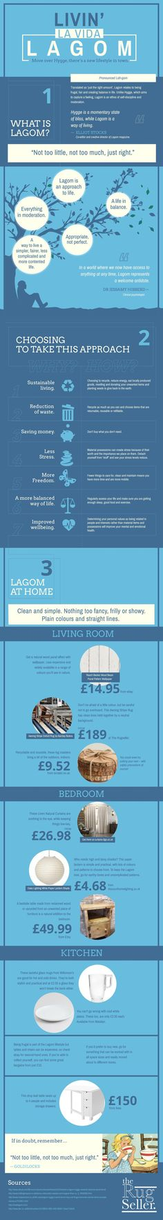 Living the Lagom life is about living a life of not having a lot, but at the same time not having too little either. It's about having just the appropriate amount. If you do not understand what I am talking about, this infographic is for you. It explains what exactly a Lagom lifestyle means and what you have to do in order to be able to live it. Here is the ultimate guide on how to live the Lagom life: Infographic by – The Rug Seller