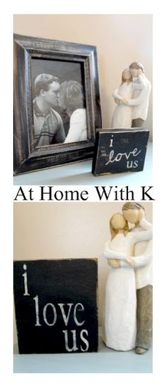 DIY mini sign tutorial - I have these Willow Tree Figures (just ordered 2 more) for my new Living Room! Love the pictures with the mini signs idea for each figurine!