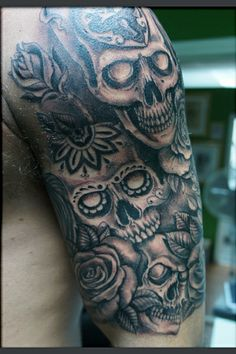 day of the dead sleeve tattoo