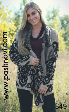 We love all hottest prints in the gorgeous colors for fall! Damask print open cardigan. What better way to stay warm?  http://www.poshnovi.com/collections/new-arrivals/products/taupe-black-printed-open-cardigan