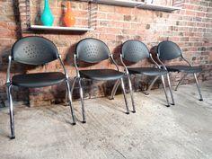 4x Italian Cazzaro S.P.A. designed chairs #italy #cazzaro #origional #designer #curvy #itevenfoldup #blackisback #chrome #vintage #retro #euvintage