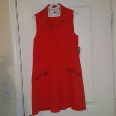 Rachel  Roy sleeveless  dress Orange sleeveless with 2 zippered  front pockets. Perfect for summer/spring! New with tags. Rachel Roy Dresses