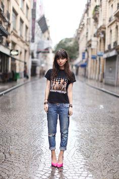 Betty Autier # Jet Rag shirt # Brand Jeans # Topshop Heels