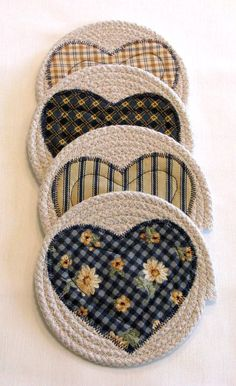 Coasters Coiled Fabric Coasters Mug Rugs Trivets by DollPatchworks