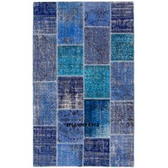 Patchwork Rug in Blue Colors Handmade From Re-Dyed Vintage Turkish... ($199) ❤ liked on Polyvore featuring home, rugs, floor & rugs, grey, home & living, hand made rugs, handmade area rugs, gray rug, blue area rugs and low pile rug