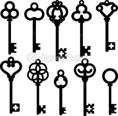 Antique Skeleton Keys By Prikhnenko Silhouette Set Vector Illustration Fully Editable Objects Separated And Grouped