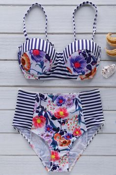 Floral High Waist Bikini Set BLUE AND WHITE: Bikinis | ZAFUL