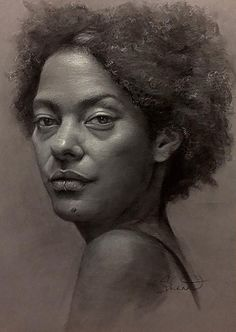 """Pigeon"" - Shana Leveson, charcoal on paper {figurative art female head #naturalhair african-american black woman face portrait drawing #loveart} shanalevenson.com"