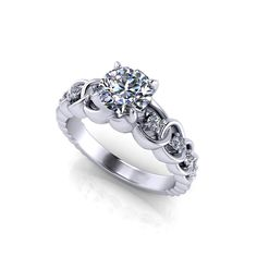 The detailed styling of this diamond link engagement ring is feminine and bold.