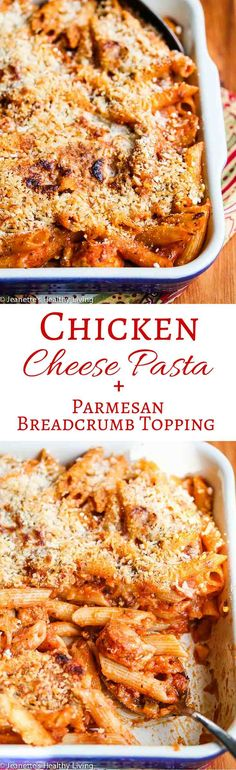 Chicken Pasta Casserole with Parmesan Breadcrumb Topping - chunks of chicken, oregano, fresh basil and a Parmesan breadcrumb topping make this easy pasta dish standout from the crowd ~ http://jeanetteshealthyliving.com
