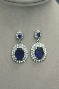 Sapphire Blue - Bridal Earrings, Swarovski Earrings, Wedding earrings, Drop earrings , chandelier earrings, Clear Crystal , Knot