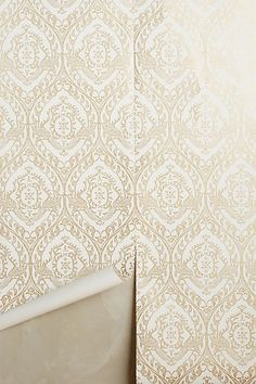 stairs and hallway or window seat Tiled Crest Wallpaper #anthropologie