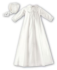 100% ivory silk unisex Christening gown. Box pleat detail and cross detail on front bottom. Designer Style Code 177 Long Sleeve