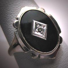 Antique Diamond Onyx Ring Vintage Art Deco White Gold via Etsy