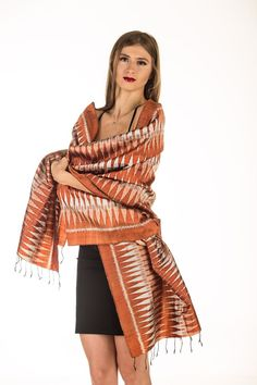 Exclusive Ikat Pure Silk Hand Woven Scarf with Vibrant Geometric Patterns #Handmade #Scarf
