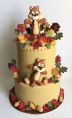 Satin Ice fondant icing is an allergy free, cake decorating tool used to make custom cakes, cookies & cupcakes. Pretty Cakes, Cute Cakes, Beautiful Cakes, Amazing Cakes, Fondant Cakes, Cupcake Cakes, Squirrel Cake, Safari Cakes, Thanksgiving Cakes