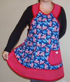 Womans Patriotic Hearts Retro Style by SusiesTieOneOnAprons, $28.50  #4thofjuly #bbq #holidayaprons #American #redwhiteblue #independenceday