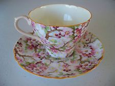 1930s Shelley Maytime CHINTZ Ripon TEA CUP & SAUCER fine bone china apple blsms