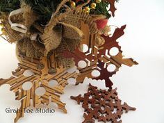 Ornaments Rustic Wooden Snowflakes Decorations by grahtoestudio, $30.00