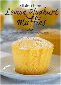 Fluffy, moist gluten free lemon muffins that are perfectly dusted with icing sugar or served warm with cream and berries! Fluffy Lemon and Yoghurt Muffins (gluten free option) - Gluten Free Lemon Yoghurt Muffins! Gluten Free Cakes, Gluten Free Baking, Gluten Free Desserts, Gluten Free Lemon Cake, Gluten Free Biscuits, Gluten Free Lunch Ideas, Easy Gluten Free Recipes, Gluten Free Party Food, Celiac Recipes