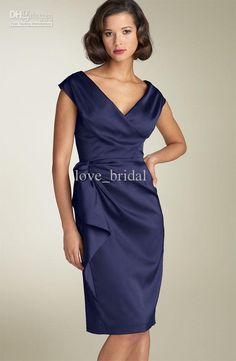 Wholesale 2013 Beach Mother of the Bride Dresses Sheath V-neck Knee Length Satin Wedding Guest Groom Mother Dresses Gown Online, Free shipping, $81.0/Piece | DHgate Mobile