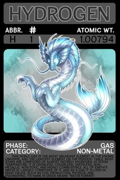 Scygon Elemental Cards- Hydrogen by Lucieniibi on DeviantArt Chemistry Lessons, Science Chemistry, Science Lessons, Hydrogen Element, Noble Gas, Periodic Elements, Material Didático, Character Development, Monsters