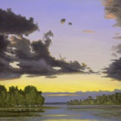 James Urbaska - Sunset, Inlet, oil on canvas painting. Important fine art for sale on CuratorsEye.com