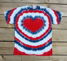 Women's Patriotic Heart Tie Dye T-Shirt,  S M L XL 2XL 3XL,  Red White and Blue Top, 4th of July Shirt, Holiday, Women's Hippie Shirt by TieDyeSkys on Etsy https://www.etsy.com/listing/293447131/womens-patriotic-heart-tie-dye-t-shirt-s