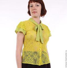 """Купить Яркая кружевная блузка """" Лимонный сок"""" - однотонный, блузка, блуза, блузка женская"""