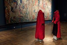 Long red coat, long black dressand black top, Yohji Yamamoto, Autumn/Winter 1995-96