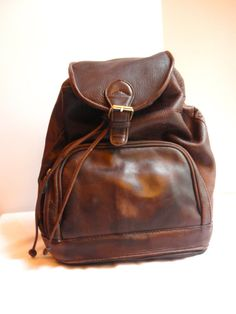 Vintage Distressed Leather Backpack Purse by petticoatplease, $55.00