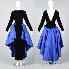 eed2920162e Make an entrance with this black velvet gown and it's attached blue taffeta  peplum. #. Style & Salvage