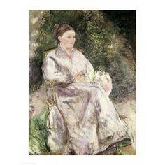 Portrait of Julie Velay Wife of the Artist c1874 Canvas Art - Camille Pissarro (24 x 36)