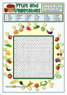 First students look for the twenty-four food and drinks in the wordsearch, then they match their names in the box to the pictures around the wordsearch. As an extra-task the lesson can be finished playing bingo on the blackboard to reinforce the pronunciation. Key provided - ESL worksheets