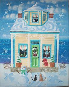Snow Frosted Cottage Cottage Original Folk Art by KimsCottageArt, $12.95