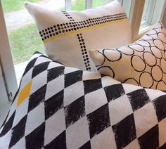 black and white with yellow accents