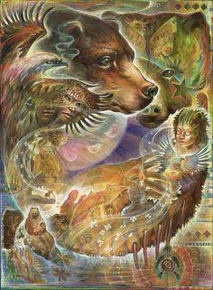The Medicine Wheel Earth Astrology by Sun Bear and Wabun (Image: Blaze Warrender) Bear Totem, Spirit Animal Totem, Animal Spirit Guides, Arte Haida, Native American Wisdom, American Indians, Animal Medicine, Power Animal, Medicine Wheel