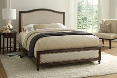 Grandover Bed by Fashion Bed Group -- The European-style Grandover bed features rich upholstery, dark wood finishing, and decorative feet.
