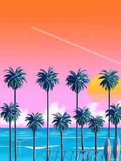 Stijl 1 // Het gebruik van palmbomen, zon, zee en strand zijn onderwerpen die vaak terug komen.